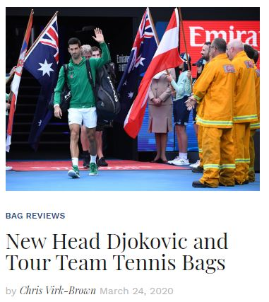 New Head Djokovic and Tour Team Tennis Bags