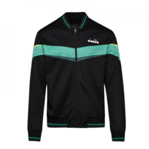 Diadora Men's Full Zip Tennis Jacket Black and Holly Green
