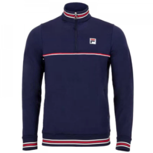 New Tennis Jackets Fila Men's Heritage 1_4 Zip Tennis Top Navy