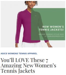 New Women's Tennis Jackets