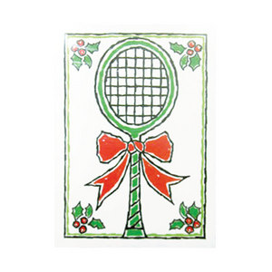 CLARKE HOLIDAY CARDS- RACKET W/BOW