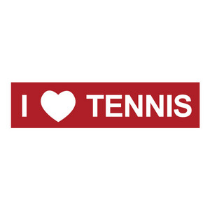 CLARKE BUMPER STICKER I LOVE TENNIS