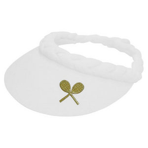 CLARKE APPLIQUE BRAID VISOR W/ CROSSED RACQUETS