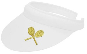 Applique Clip Tennis Visor w/ Crossed Racquets