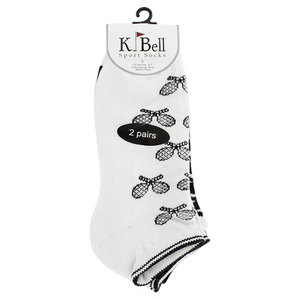 K BELL SOCKS HOUNDSTOOTH RACQUET BLACK SOCKS