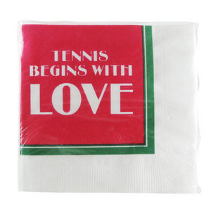CLARKE TENNIS NAPKINS TENNIS BEGINS W/LOVE