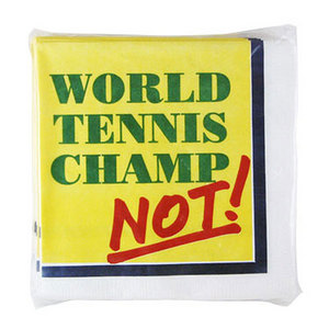 Tennis Beverage Napkin `Champ/Not`