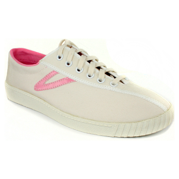s nylite canvas white sea pink tennis shoes size 7 5