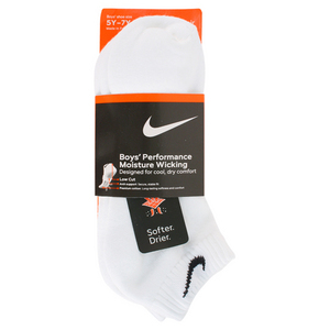 NIKE BOYS LARGE 3PACK 1/2 CUSH LOW CUT SOCKS