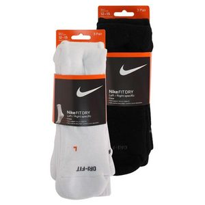 NIKE 3 PK DRI FIT HALF CUSHION XL CREW SOCKS