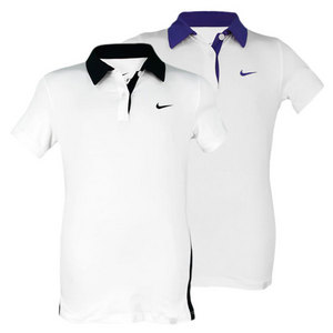 NIKE GIRLS BACK HAND BORDER TENNIS POLO