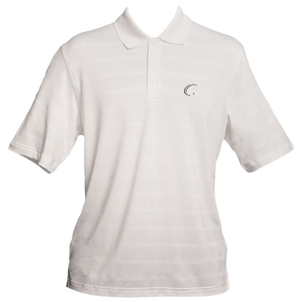 Men's White Striped Tennis Polo