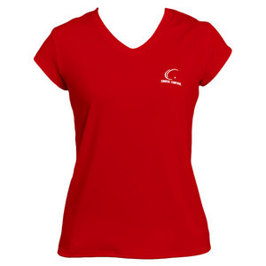 Women`s Red Cap Sleeve Tennis Tee