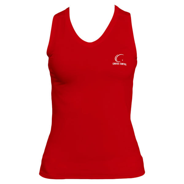 Women's Red Sleeveless Tennis Tee