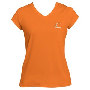 Women`s Orange Cap Sleeve Tennis Tee
