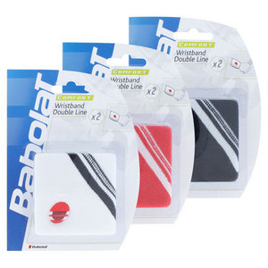 BABOLAT COMFORT 2 PK DBLE LINE TENNIS WRISTBAND