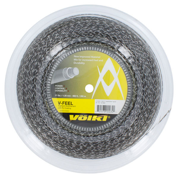 V- Feel Black Silver Spiral 17g Reel Tennis String