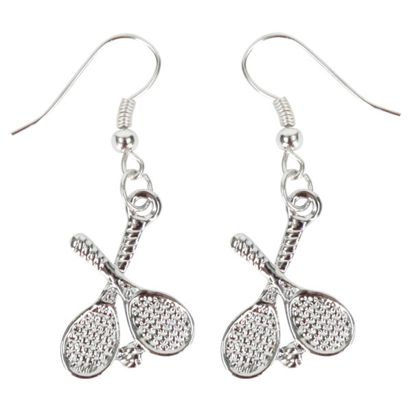 fromuth crossed tennis racquet earrings sterling plated