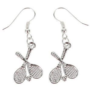 Crossed Tennis Racquet Earrings (Sterling Plated Pewter)