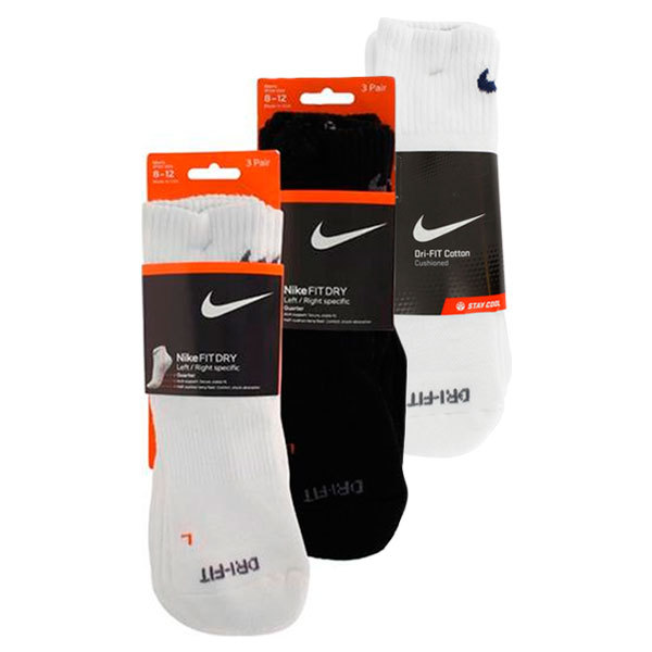 3 Pack Dri Fit Half Cushion Large Quarter Socks (M8- 12)