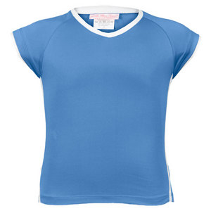 LITTLE MISS TENNIS GIRLS BLUE V NECK CAPSLEEVE TENNIS TOP