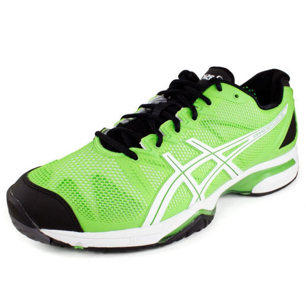 asics s gel solution speed tennis shoes neon green black