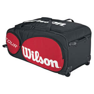 WILSON TOUR BLACK/RED TRAVELER BAG WITH WHEELS