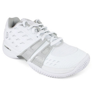 PRINCE WOMENS T-24 WHITE/SILVER TENNIS SHOES