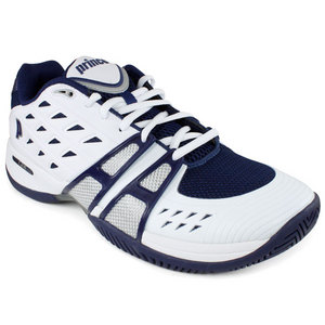 PRINCE MENS T-24 WHITE/NAVY/SILVER TENNIS SHOES