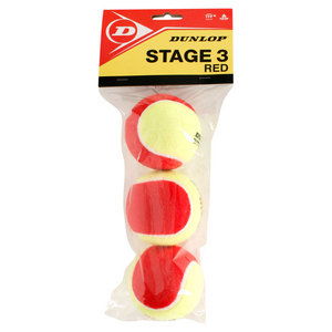 DUNLOP STAGE 3 RED FELT 3 TENNIS BALL POLY BAG