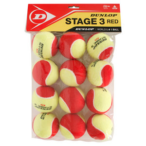 DUNLOP STAGE 3 RED FELT DOZEN TENNIS BALLS