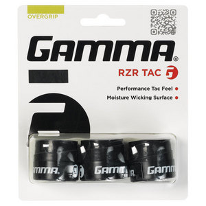 GAMMA RZR TAC TENNIS OVERGRIP 3 PACK BLACK