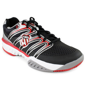 K-SWISS Men`s Bigshot Tennis Shoes Black/Red/White