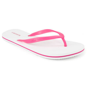 LACOSTE WOMENS EMILE WHITE/PINK FLIP FLOPS