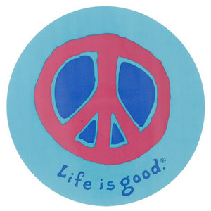 LIFE IS GOOD PEACE SIGN 4 INCH CIRCLE STICKER