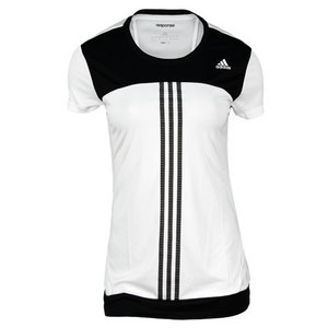 adidas WOMENS RESPONSE WHITE/BLACK TENNIS TEE