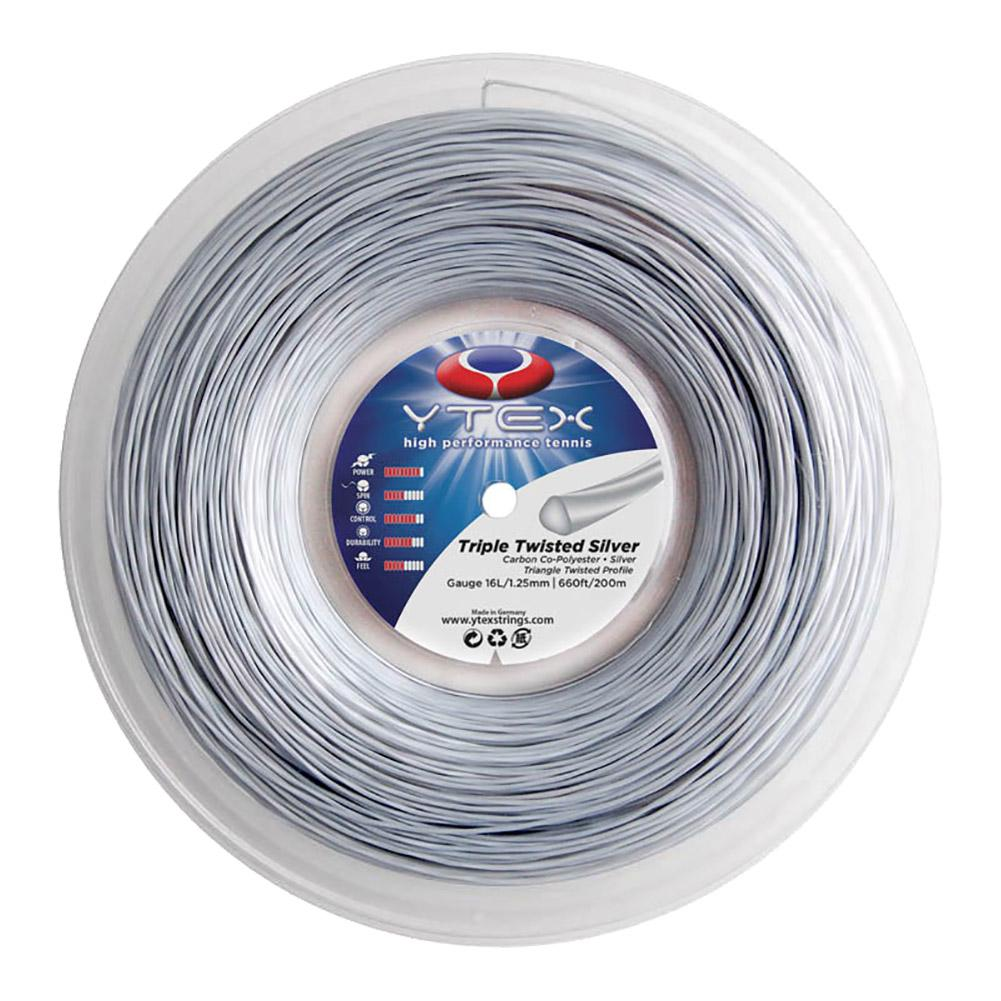 Triple Twisted Silver 1.25mm/16l Tennis String Reel