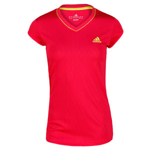 adidas WOMENS ESSENTIALS PINK/LIME TENNIS TEE