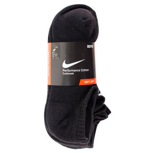 NIKE BOYS LARGE 3PACK 1/2 CUSH NO SHOW SOCKS
