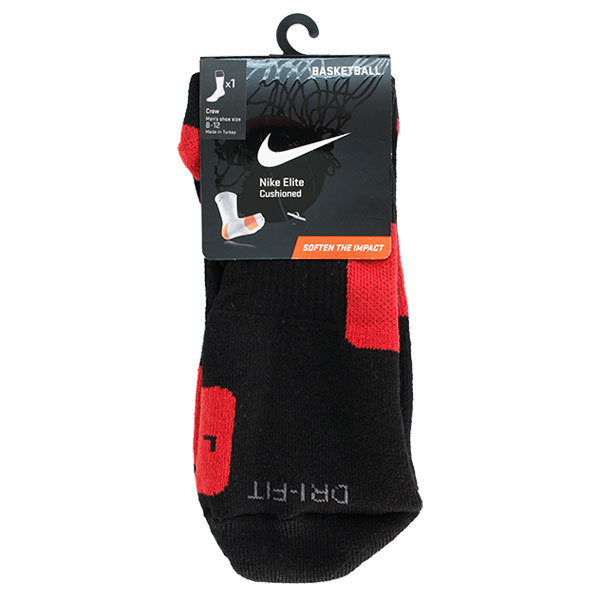Men`s Elite Crew Socks Large These performance basketball socks feature Footstrike cushioning DriFit fabric arch support and leftright specific design Sizing Large mens 812