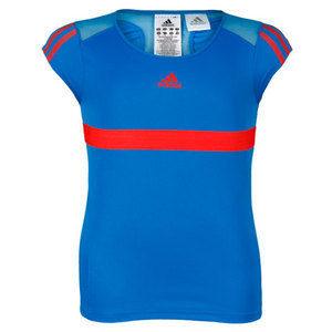 adidas GIRLS ADIPOWER BLUE TENNIS CAP-SLEEVE