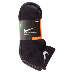 NIKE BOYS MEDIUM 3PACK 1/2 CUSH LOW CUT SOCKS