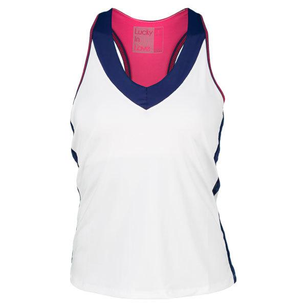 Women's V Neck Color Block Tennis Tank White/Navy