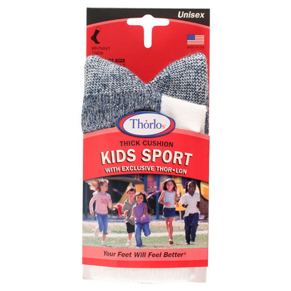 Kid's Thorlon Sport Crew White/Navy Socks 13.5- 4