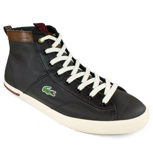 LACOSTE MENS NEWTON MID LT CASUAL SHOES BLACK