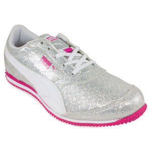 PUMA GIRLS STEEPLE GLITZ SHOES GREY/VIOLET