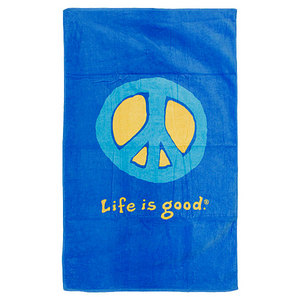 LIFE IS GOOD OCEAN BLUE PEACE BATH TOWEL 49 X 30