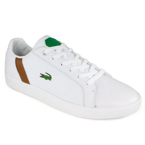 LACOSTE MENS RENARD TRI TENNIS SHOES WHITE/BRN