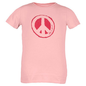 LIFE IS GOOD GIRLS IMPRESSION PEACE CREAMY TEE PINK