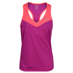 REEBOK WOMENS OUTLACED LONG BRA AUBERGINE TOP